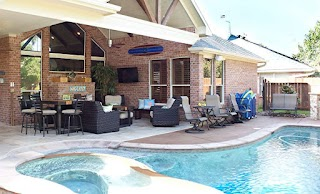 Outdoor Kitchen and Pool Clear Lake Living Room Texas Custom Patios
