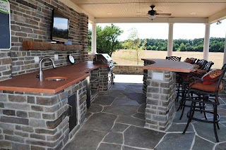 Outdoor Patio Kitchen Interior of Pool House with Traditional