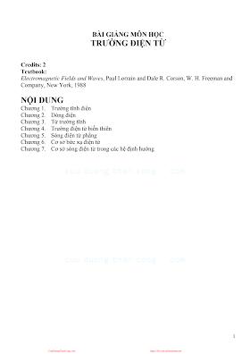 Bài Giảng Môn Học Trường Điện Từ - Ts.Nguyễn Văn Cường, 84 Trang.pdf