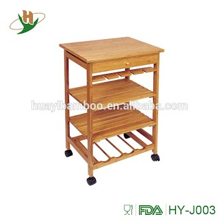 Outdoor Kitchen Trolley Food Serving Bamboo Cart with Drawer Buy