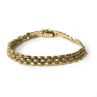 18K Gold Brick Link Bracelet