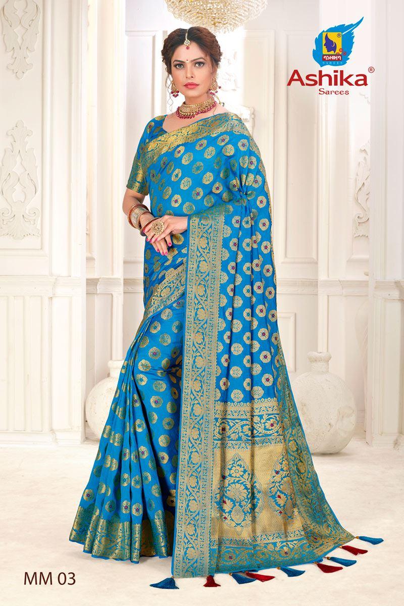 Sky Blue Color Silk Fabric Festive Wear Zari Work Saree