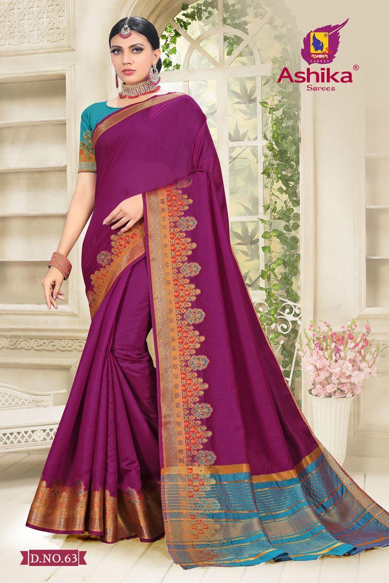 Purple Color Cotton Silk Fabric Reception Wear Border Work Saree