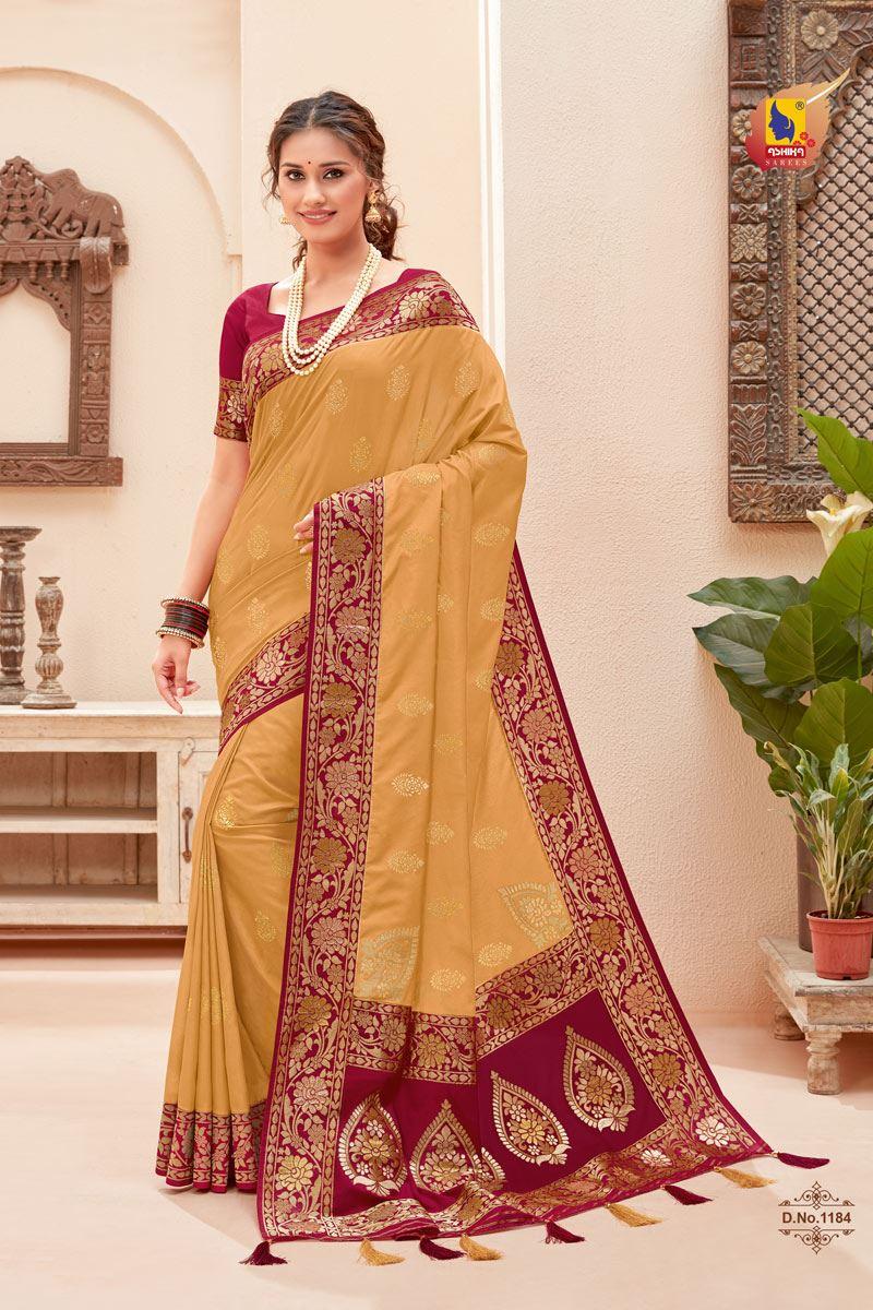 Cream Color Silk Fabric Zari Work Sangeet Wear Fancy Saree