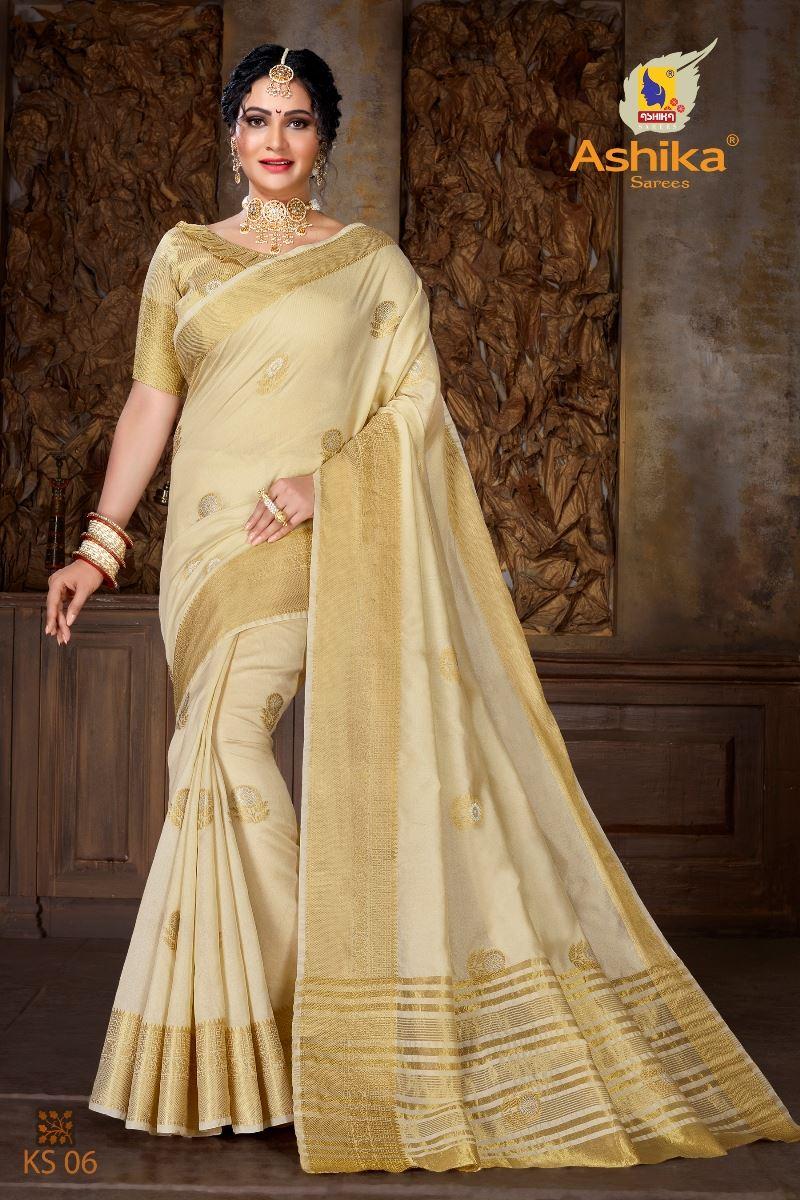 Cream Colour Soft Mercerised Cotton Silk With Rich Gold And Silver Zari Butta