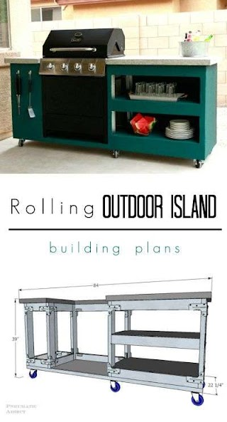Outdoor Kitchen Island Plans Free Rolling Building Bloggers Best DIY Ideas