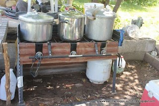 Outdoor Canning Kitchen Bacon and Eggs Station