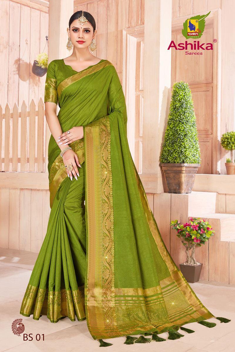 Mehendi Green Color Art Silk Fabric Stone Work Fancy Saree
