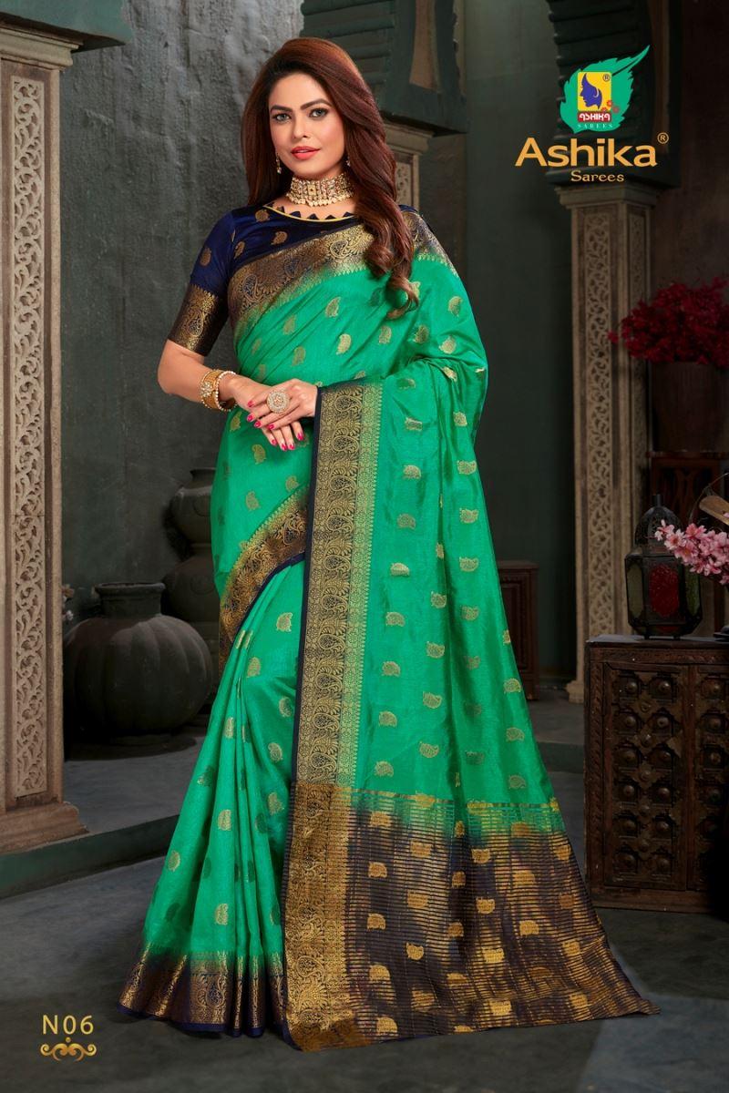 Rama Green Colour Silk Saree