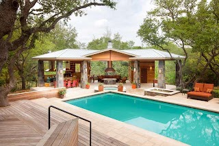 Pool House Designs with Outdoor Kitchen Living Paradise Contemporary Austin By Cgs