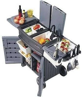 Outdoor Camping Kitchen with Sink Deluxe Portable Garden and Grillin N Smokin