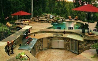 Backyard Designs with Pool and Outdoor Kitchen S Earthproinfo