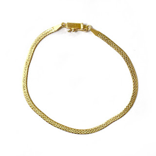 14K Gold Etched Flat Chain Bracelet