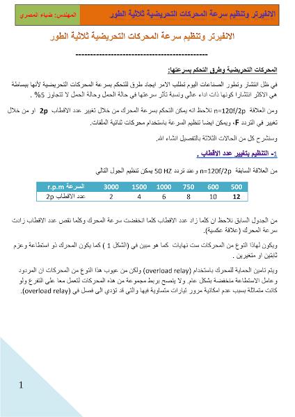 تحميل كتاب الانفرتر وتنظيم سرعات المحركات ثلاثية الأوجه .pdf - كتب منوعة