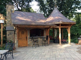 Timber Frame Outdoor Kitchen Peg Post and Beam