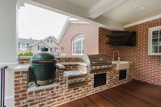 Outdoor Kitchen Deep Fryer Built in Chic Fat Porch Traditional with Brick Facade Next To