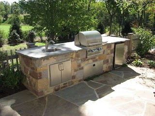 Flagstone Outdoor Kitchen Custom with Patio Traditional Patio