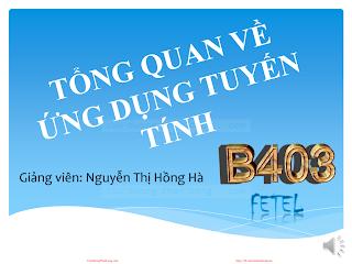 Slide.Tổng Quan Về Ứng Dụng Tuyến Tính - Nguyễn Thị Hồng Hà, 173 Trang.pdf