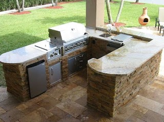 Outdoor Kitchen Grill Tops Best with Marble Countertop Ideas