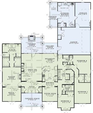 House Plans with Outdoor Kitchens First Floor Plan of Country Craftsman Plan 82262 Layout Of
