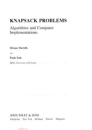 0471924202 {C8F61466} Knapsack Problems_ Algorithms and Computer Implementations [Martello _ Toth 1990-11].pdf