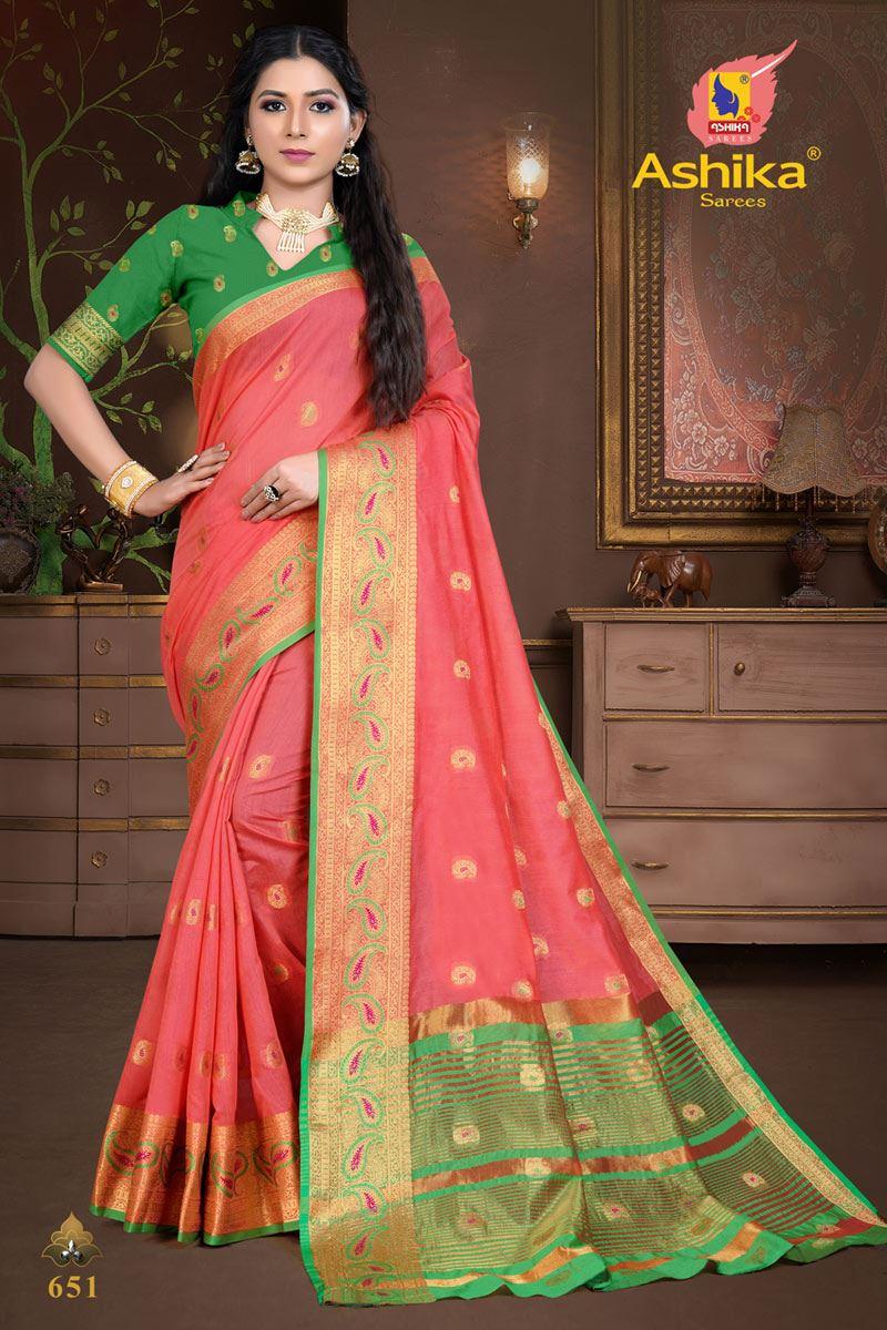 Pink Color Cotton Silk Fabric Weaving Work Wedding Wear Saree