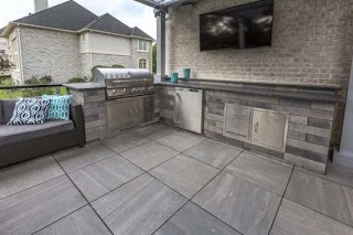 Outdoor Kitchen Tile Porcelain Roof Deck Patio with an Photos