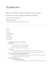 March 29, 2021, Charter Revision Commission, (Communications Subcommittee), 5:00pm