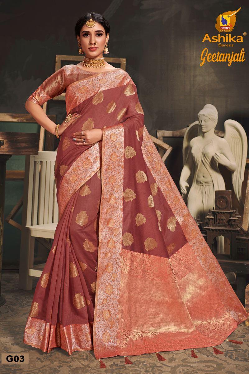 Brown Color Cotton Silk Fabric Trendy Weaving Work Saree
