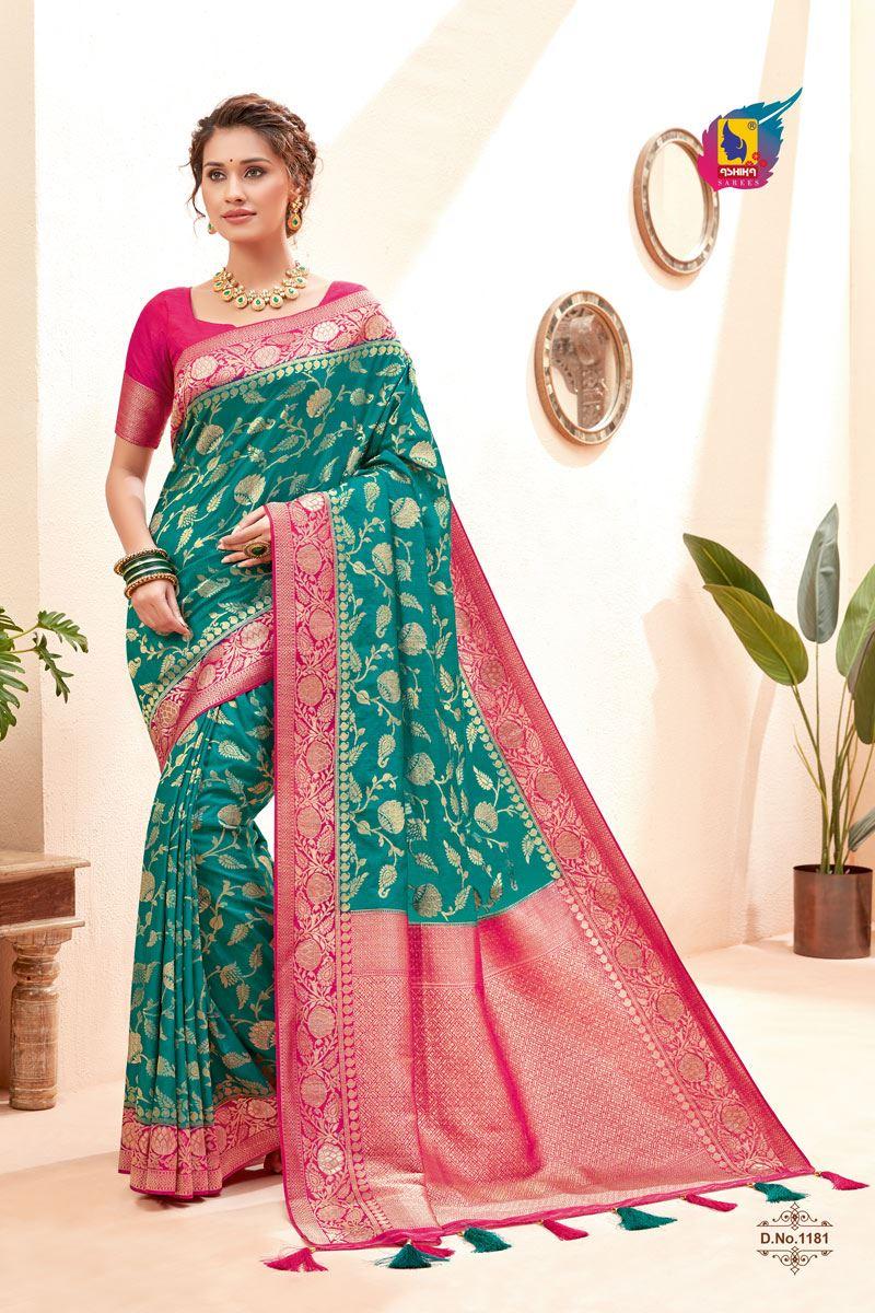 Cyan Color Silk Fabric Zari Work Sangeet Wear Fancy Saree