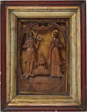 Icoana sculptata Sfantul Mihail si Sfanta Varvara, secolul al XIX-lea