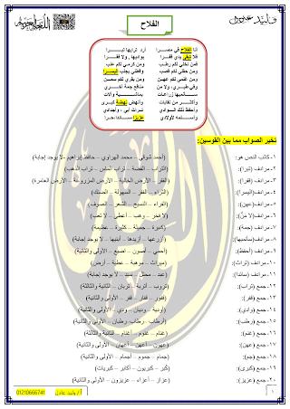 talb online طالب اون لاين ملزمة مراجعة شهر إبريل للصف الثاني الإعدادي  وليد بن عادل