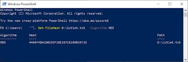 MD5 checksum Windows 10 PowerShell