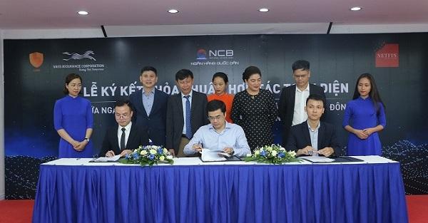 (BizLIVE) Lễ ký kết thỏa thuận hợp tác ba bên giữa NCB, VASS và Netfin Việt Nam