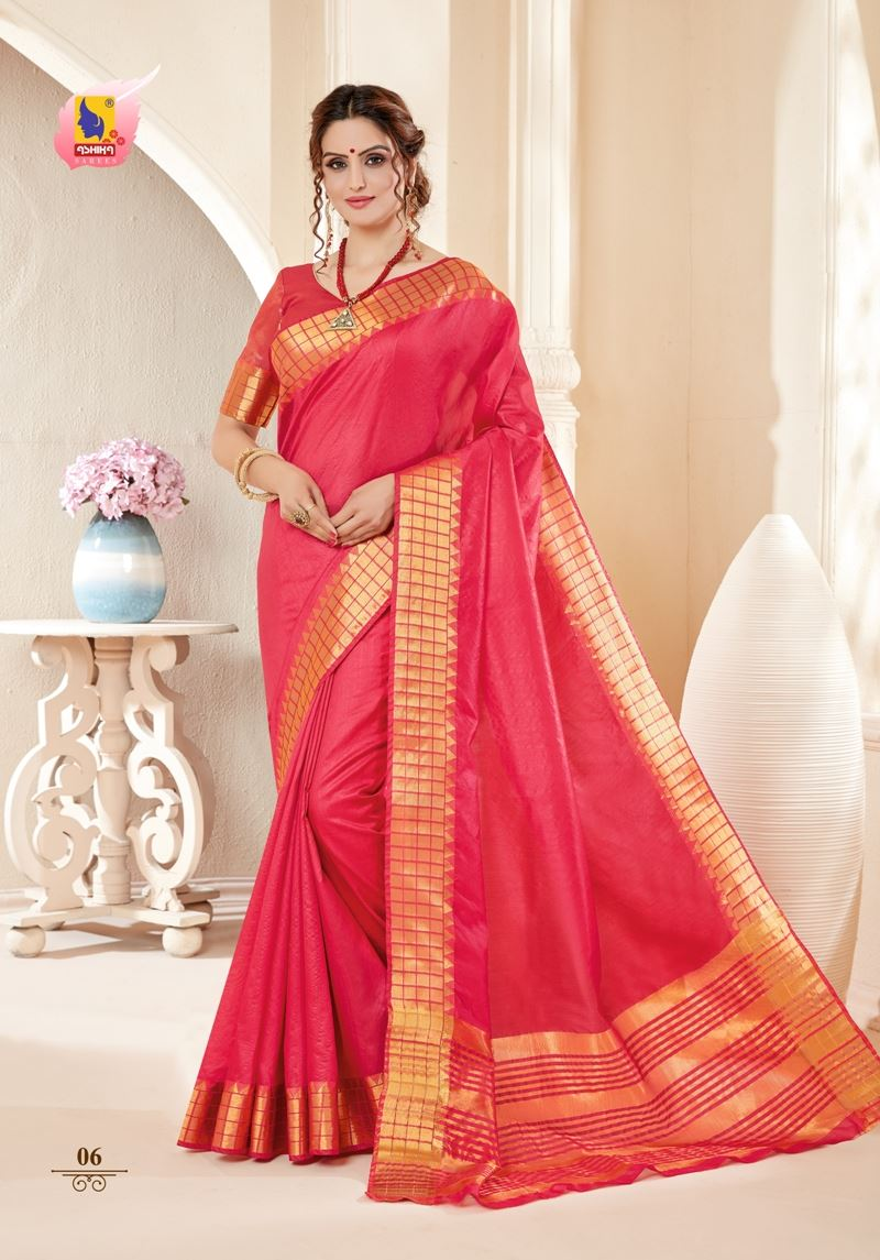 Gajri Colour Cotton Silk Saree