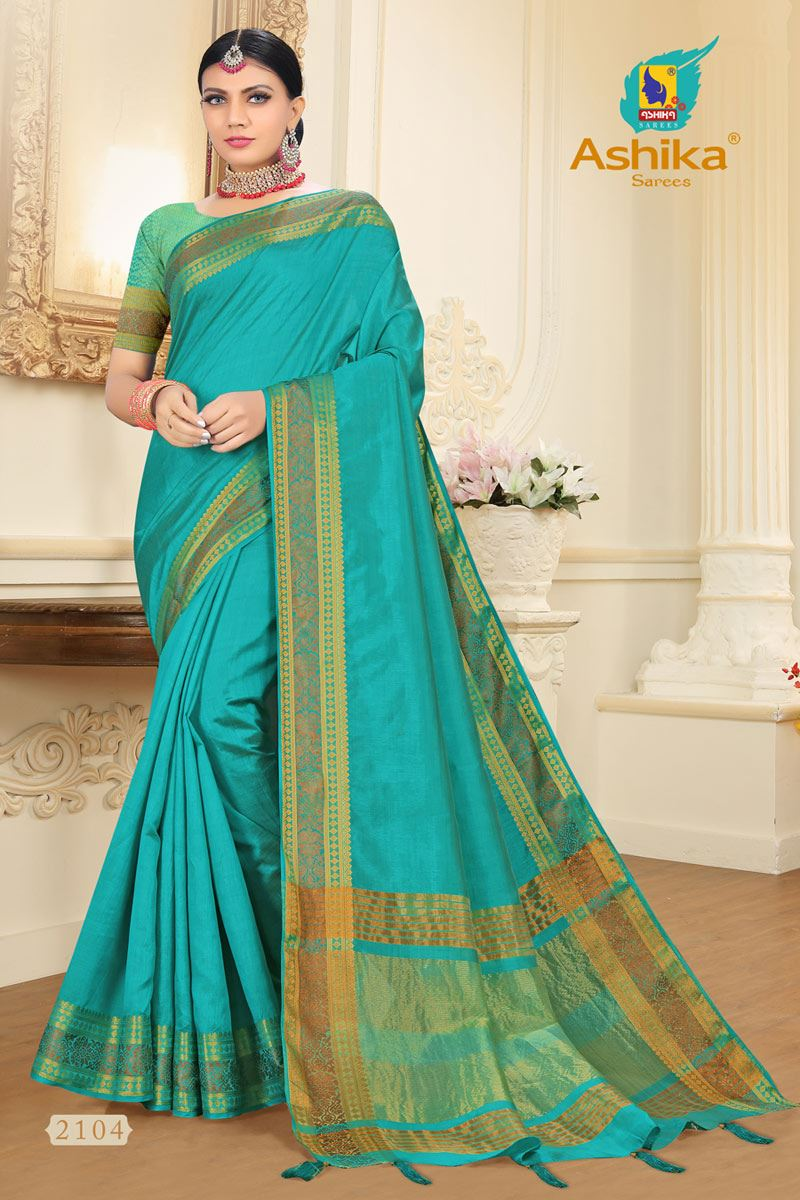 Cyan Tussar Silk Fabric Function Wear Fancy Zari Work Saree