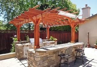 Pergola Kitchen Outdoor Custom Redwood Kit