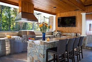 Outdoor Kitchens with Fireplace and S Terra Firma Landscape Design And