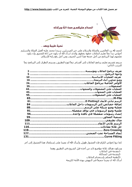 تحميل كتاب matlab.pdf - أساسيات البرمجة كتب منوعة »ماتلاب