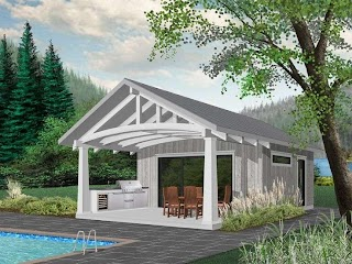 House Plans with Pools and Outdoor Kitchens 028p0001 Cabana Or Pool Plan Kitchen Pool