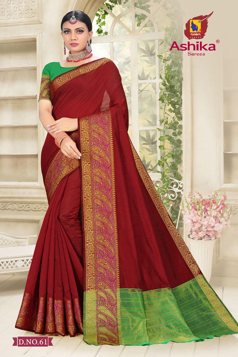 Maroon Color Cotton Silk Fabric Reception Wear Border Work Saree