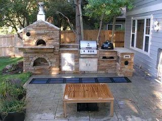 Outdoor Kitchen Pizza Oven Design with Fireplace with On