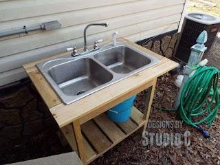 Outdoor Kitchen Plumbing DIY Sinkoutside Angle Projects Sink