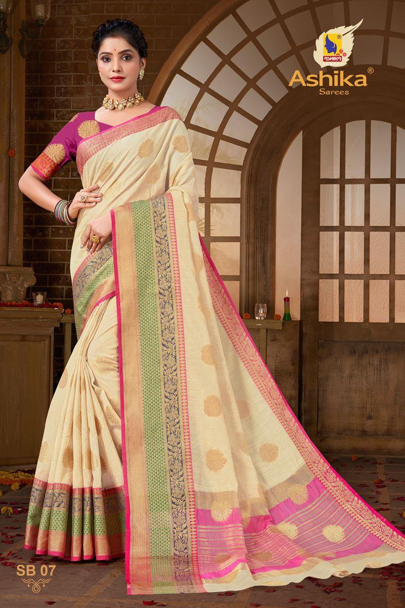 Beige Color Zari Work Designer Cotton Silk Fabric Function Wear Saree
