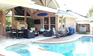 Pool and Outdoor Kitchen Designs Backyard with Backyard With