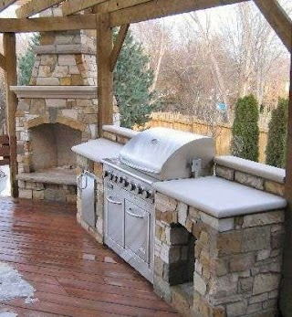 Outdoor Kitchen and Fireplace Designs Small S S With