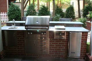 Outdoor Brick Kitchen Red Island with Raised Seating Bar