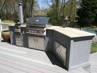 Stucco Outdoor Kitchen Custom Built S 2011 Lazy L with Molding