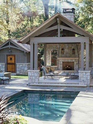 Pool House with Outdoor Kitchen Backyard Design Small Inground Swimming
