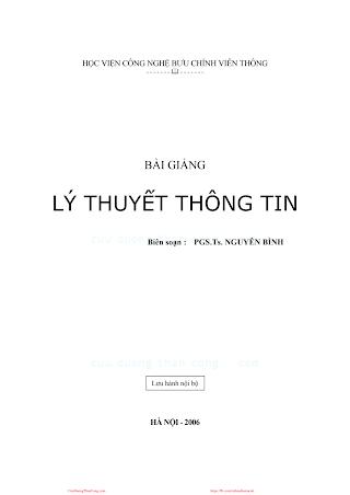 BCVT.Lý Thuyết Thông Tin - Pgs. Ts. Nguyễn Bình, 227 Trang.pdf